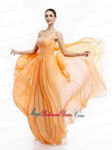 2015 Beading Sweep Train Gold New Arrival Bridesmaid Dresses with Ruching