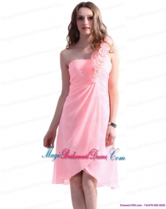 2015 New Arrival Baby Pink One Shoulder Bridesmaid Dresses with Ruching and Hand Made Flowers