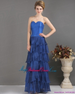 2015 New Arrival Blue Sweetheart Bridesmaid Dresses with Ruffled Layers