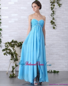 2015 New Arrival Bridesmaid Dresses with Ruching and Beading