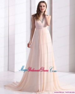 2015 New Arrival Brush Train Bridesmaid Dresses with Beading and Ruching