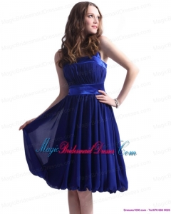 2015 New Arrival Navy Blue Halter Top Bridesmaid Dresses with Sash and Ruffles