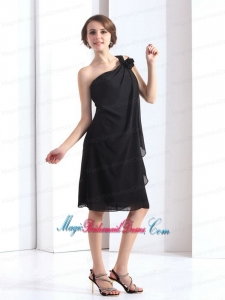 2015 New Arrival One Shoulder Black Bridesmaid Dresses with Hand Made Flower