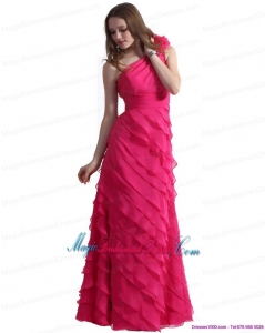 2015 New Arrival One Shoulder Bridesmaid Dresses with Ruffled Layers and Hand Made Flower