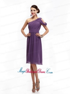 2015 New Arrival One Shoulder Dark Purple Bridesmaid Dresses with Ruching