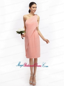 2015 New Arrival Ruching and Hand Made Flowers Pink Bridesmaid Dresses with One Shoulder