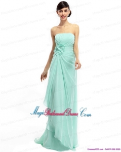 2015 New Arrival Sweep Train Apple Green Bridesmaid Dresses with Ruching and Hand Made Flower