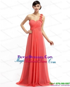 2015 New Arrival Watermelon Red Bridesmaid Dresses with Brush Train and Hand Made Flowers
