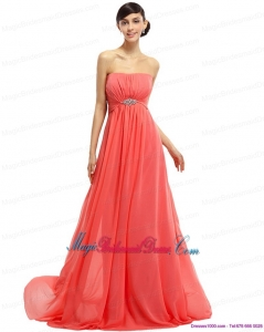 2015 Watermelon Beading Long New Arrival Bridesmaid Dresses with Ruching and Sweep Train