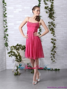 New Arrival Beading Spaghetti Straps Ruching Coral Red Bridesmaid Dresses for 2015