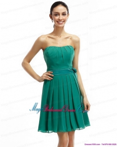 New Arrival Strapless Ruching and Sash 2015 Short Bridesmaid Dresses in Turquosie