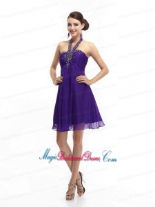 Purple Beading Halter Top 2015 New Arrival Bridesmaid Dresses with Ruching