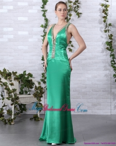 2015 New Arrival Beading Long Bridesmaid Dresses with Brush Train