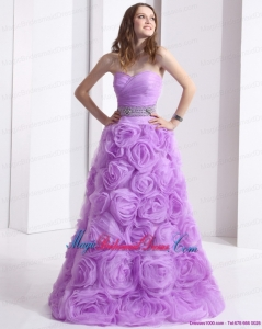 2015 New Arrival Bridesmaid Dresses Dresses with Rolling Flowers and Sequins
