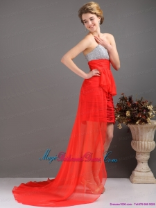 2015 New Arrival Brush Train Red High Low Bridesmaid Dresses with Ruching and Beading