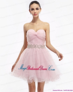 2015 New Arrival Cute Baby Pink Sweetheart Ruching Short Bridesmaid Dresses