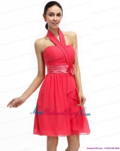 2015 New Arrival Dresses Halter Top Bridesmaid Dresses with Ruching and Hand Made Flowers