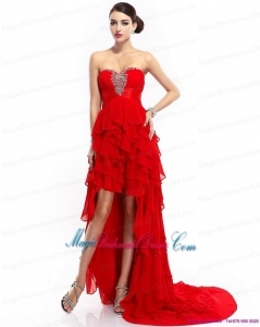 2015 New Arrival High Low Ruffled Layers Beading Red Bridesmaid Dresses