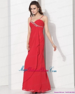 2015 New Arrival Red Spaghetti Straps Bridesmaid Dresses with Ruching and Beading