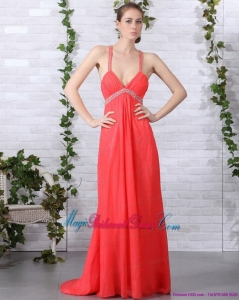 2015 New Arrival Spaghetti Straps Bridesmaid Dresses with Ruching and Beading