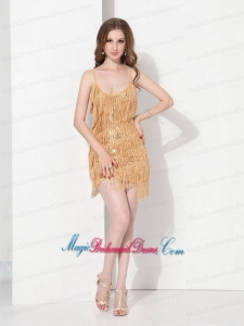 Gorgeous Gold Sequins and Mini Length Macrame Bridesmaid Dresses with Spaghetti Straps