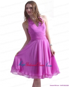 Gorgeous Halter Top Knee Length 2015 Bridesmaid Dresses with Ruching