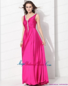 Gorgeous Hot Pink Long Bridesmaid Dresses with Beading and Ruching