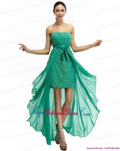 Gorgeous Turquoise High Low Beading Bridesmaid Dresses with Ruching and Bownot