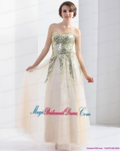 Unique 2015 Sweetheart Floor Length Bridesmaid Dress with Sequins