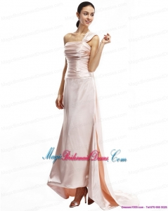 Unique Champagne One Shoulder Ruching Bridesmaid Dresses with Brush Train