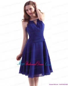 Unique Royal Blue 2015 Knee Length Bridesmaid Dresses with Ruching