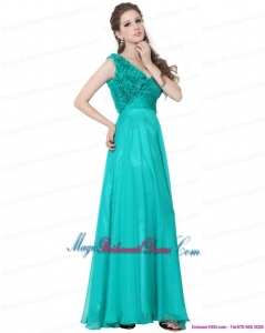 Unique Turquoise One Shoulder Bridesmaid Dresses with Ruching and Hand Made Flowers