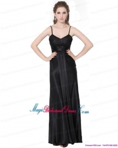 2015 Gorgeous Spaghetti Straps Ruching Bridesmaid Dress in Black