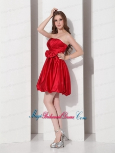 2015 Gorgeous Strapless Bowknot Mini Length Bridesmaid Dress in Red