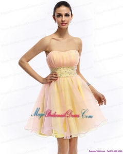 2015 Gorgeous Strapless Multi Color Bridesmaid Dress with Beading and Ruching