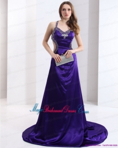 2015 Halter Top Purple Criss Cross Discount Bridesmaid Dresses with Court Train