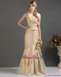2015 New Arrival Champagne Long Bridesmaid Dresses with Ruffles and Hand Made Flower