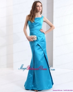 2015 New Arrival One Shoulder Baby Blue Long Bridesmaid Dresses with Brush Train