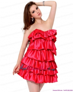 2015 New Arrival Red Mini Length Bridesmaid Dresses with Ruffled Layers