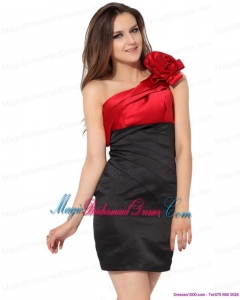 2015 New Arrival Ruching and Hand Made Flowers Bridesmaid Dresses in Red and Black