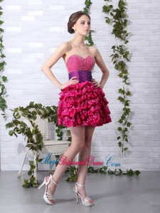 2015 New Arrival Ruffled Layers Sweetheart Beading Bridesmaid Dresses