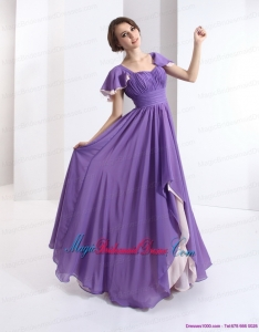 2015 Unique Bridesmaid Dress with Ruching and Cap Sleeves