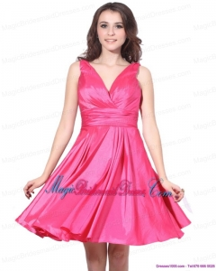 2015 Unique V Neck Short Bridesmaid Dress with Ruching