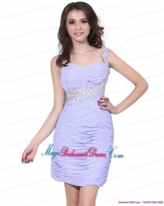 2015Lilac Mini Length Discount Bridesmaid Dresses with Rhinestones and Ruching
