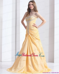 Brush Train Gold Discount Bridesmaid Dresses with Ruching and Beading