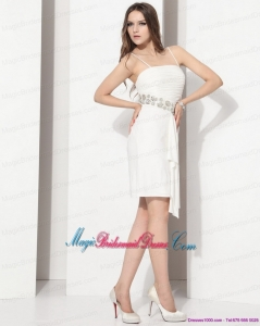 Discount White Spaghetti Straps Bridesmaid Dresses with Ruching and Beading