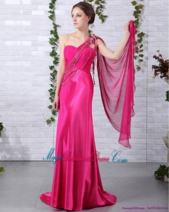 Gorgeous 2015 One Shoulder Fuchsia Bridesmaid Dress with Beading and Ruching