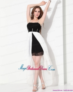 High Low Beading 2015 Bridesmaid Dresses in Black and White