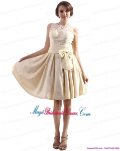 High Neck Discount Bridesmaid Dresses with Ruching and Bownot