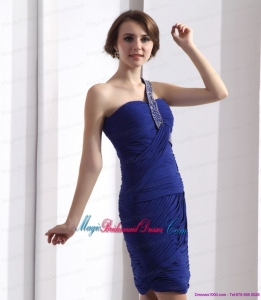 One Shoulder Bridesmaid Dresses with Ruffles and Beading